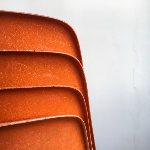 Charles Eames 1960s Vintage Herman Miller Eames Orange Fiberglass Shell Chairs - Set of 4 For Sale - Image 4 of 11