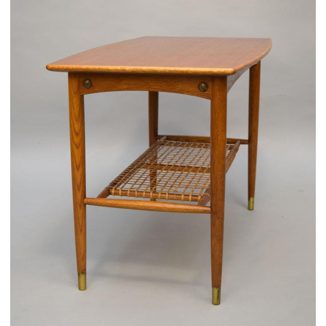 DUX Folke Ohlsson Teak, Oak & Cane Side Table For Sale - Image 4 of 8