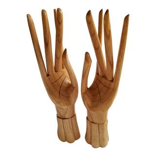 Vintage Carved Wooden Hand Sculptures - A Pair