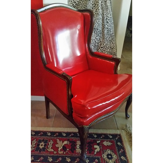 Antique Red Patent Leather Armchair - Image 5 of 11