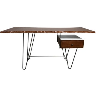 1950s Hairpin Desk With Floating Drawer and Custom Free Edge Walnut Top For Sale