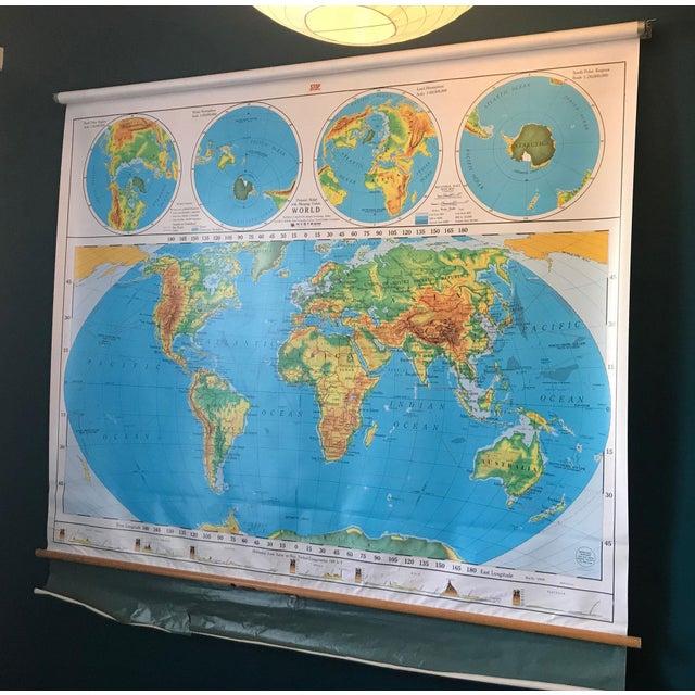 Vintage Nystrom Pull Down Schoolroom World Map | Chairish