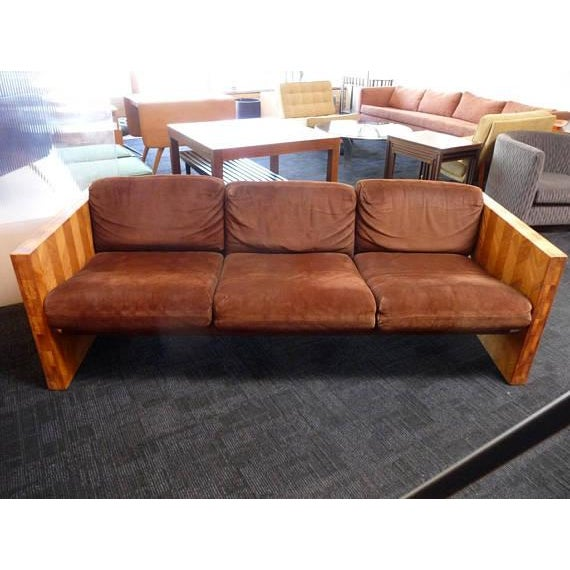 1970s Brown Suede & Wood Sofa For Sale In Los Angeles - Image 6 of 6