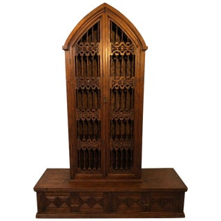 Magnificent Hand Carved Mahogany Gothic Style Bookshelf Cabinet For Sale