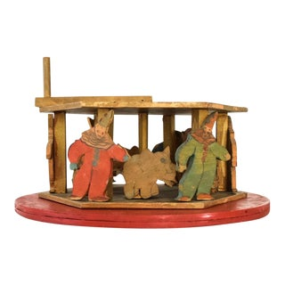 Primitive Antique Handmade Wooden Toy Carousel