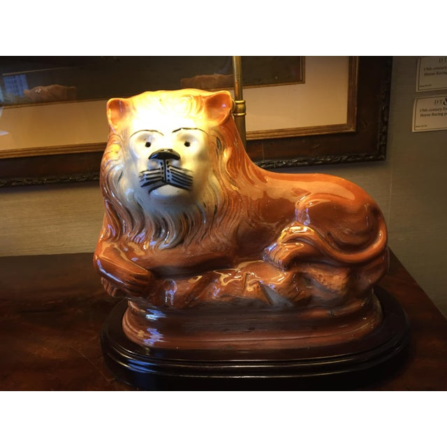 English Staffordshire Style Ceramic Lion Lamps - a Pair - Image 5 of 5