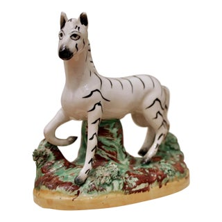 Glazed Italian Pottery Zebra Figure For Sale