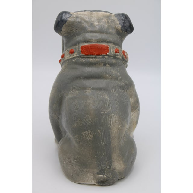 1930s Chalkware Carnival Prize Bulldog Statue For Sale - Image 4 of 12