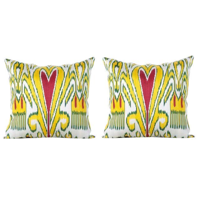 Silk Atlas Ikat Pillows - A Pair - Image 1 of 3