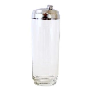 Mid Century Modern Glass & Silver Martini Shaker For Sale