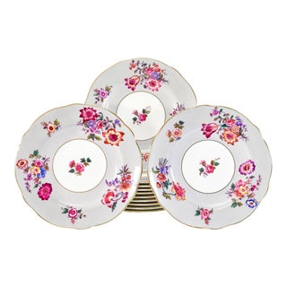 12 Coalport Grey and Polychrome Enamel Floral Shaped Rim Dinner Service Plates For Sale