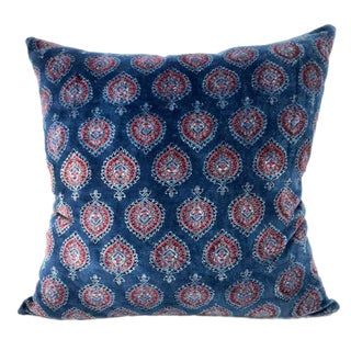 """Tanah"" 18"" X 18"" Blue Soft Cotton Velvet Pillow Cover"