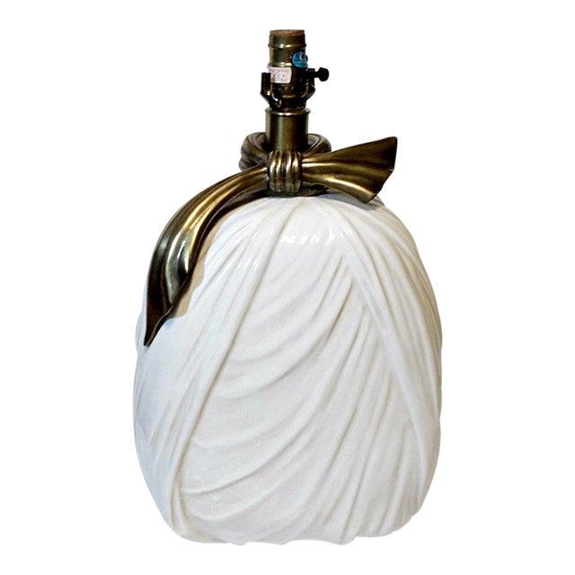 Chapman Porcelain Brass Ribbon Lamp 1980s Hollywood Regency Style For Sale