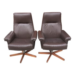 H. W. Klein Leather & Teak Base Swivel Executive / Lounge Chairs - a Pair For Sale
