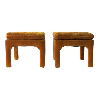 1970s Vintage Billy Baldwin Hollywood Regency Ottomans- A Pair For Sale
