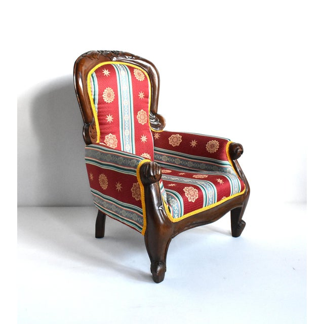 Victorian Antique Victorian-Style Upholstered Child's Chair For Sale - Image 3 of 11