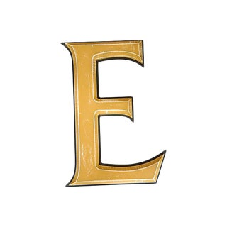 Large Salvaged Wooden Marquee Letter E For Sale