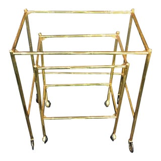 Baques Brass Bamboo Nesting Tables on Wheels - a Pair