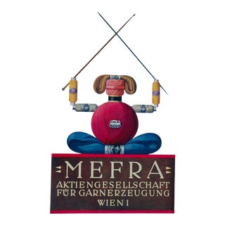 1923 Austrian Art Deco Poster, Mefra Knitting and Embroidery Thread For Sale