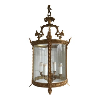 Vintage Mid Century French Brass Chandelier For Sale