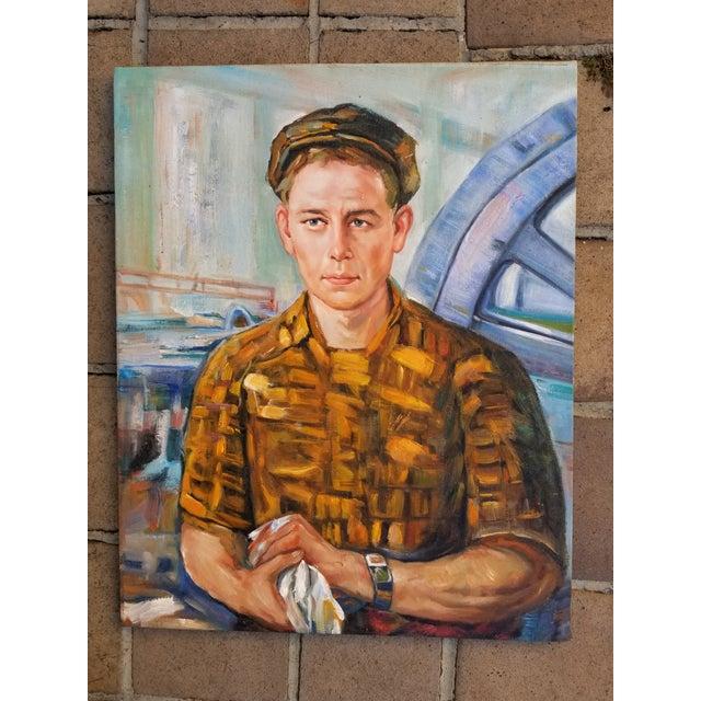 Linen Mid Century Male Oil Portrait For Sale - Image 7 of 7