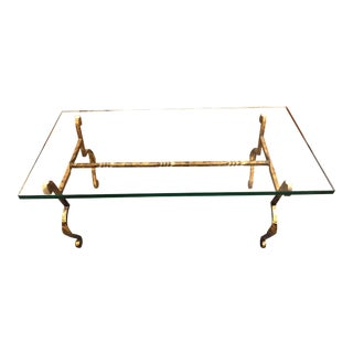 Brutalist Glass and Bronze/Gilded Steel Coffee Table For Sale