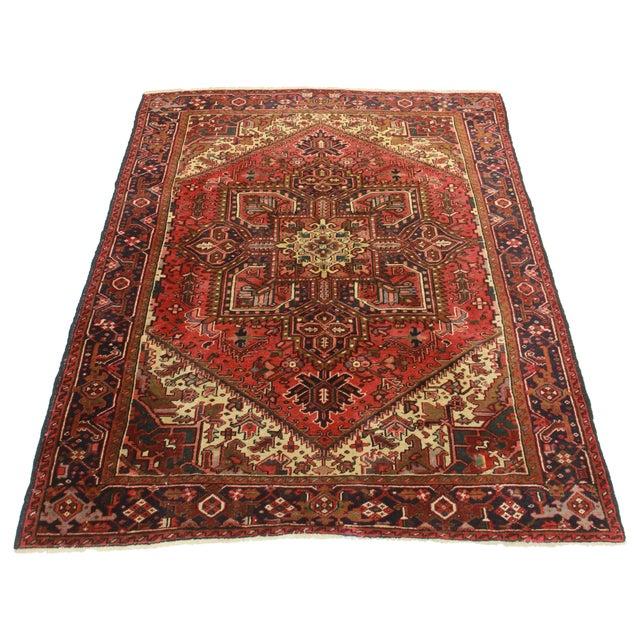 RugsinDallas Vintage Hand Knotted Wool Persian Hariz Rug - 6′11″ × 9′ - Image 2 of 2