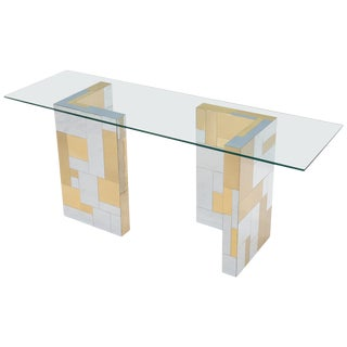 Paul Evans Mid-Century Modern Glass Top Polished Brass and Chrome Console Table For Sale