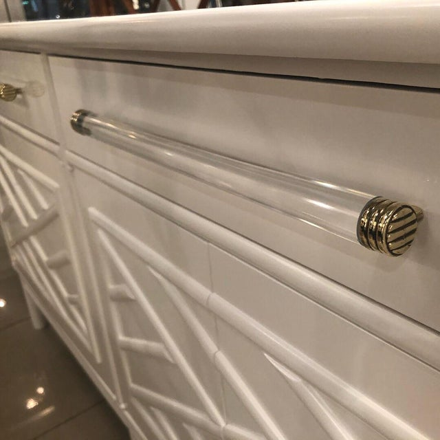 Lacquered White Chinese Chippendale Faux Bamboo Lucite Brass Credenza Buffet - Image 5 of 13