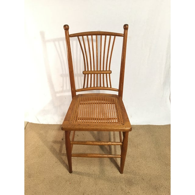 Antique American Spindle Back Caned Desk Chair - Image 4 of 4