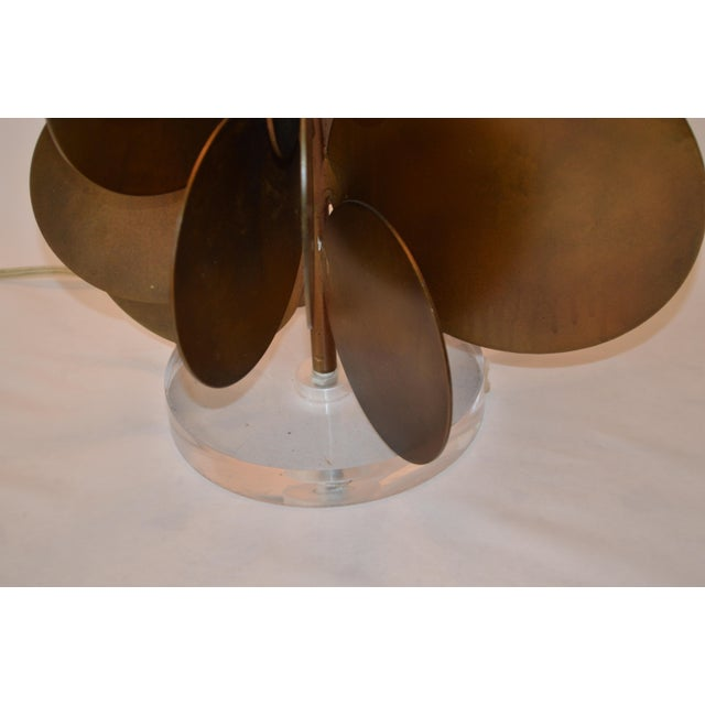 Arteriors Home Modern Arteriors Home Brass Disc Lamp With Brown Shade For Sale - Image 4 of 7