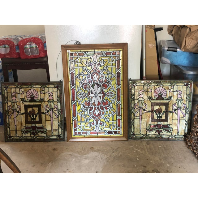 Stained Glass Panels - Set of 3 For Sale In Austin - Image 6 of 6
