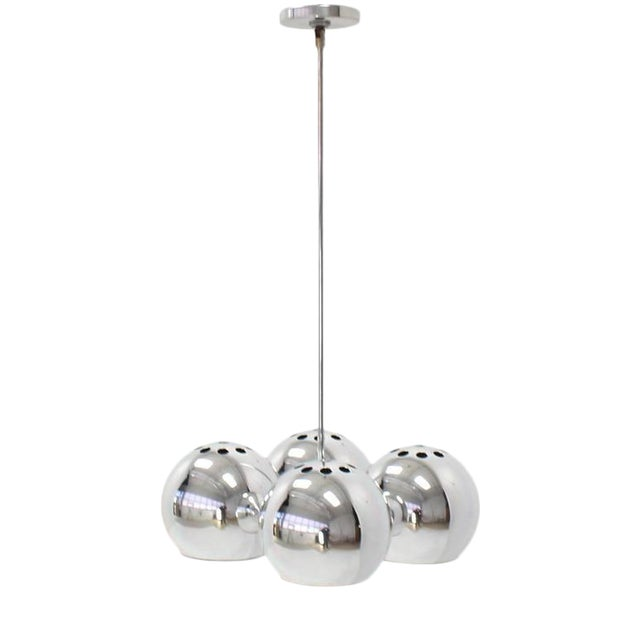 Mid-Century Modern Four Globe Light Fixture Pendant For Sale - Image 9 of 9