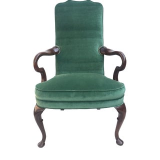 Green Velvet Mahogany High Back Chair For Sale