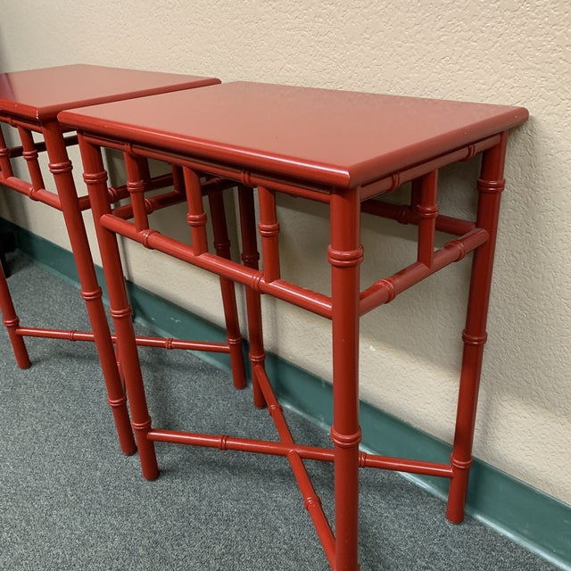 Mid-20th Century Red Faux Bamboo Accent Tables- a Pair For Sale In San Francisco - Image 6 of 8