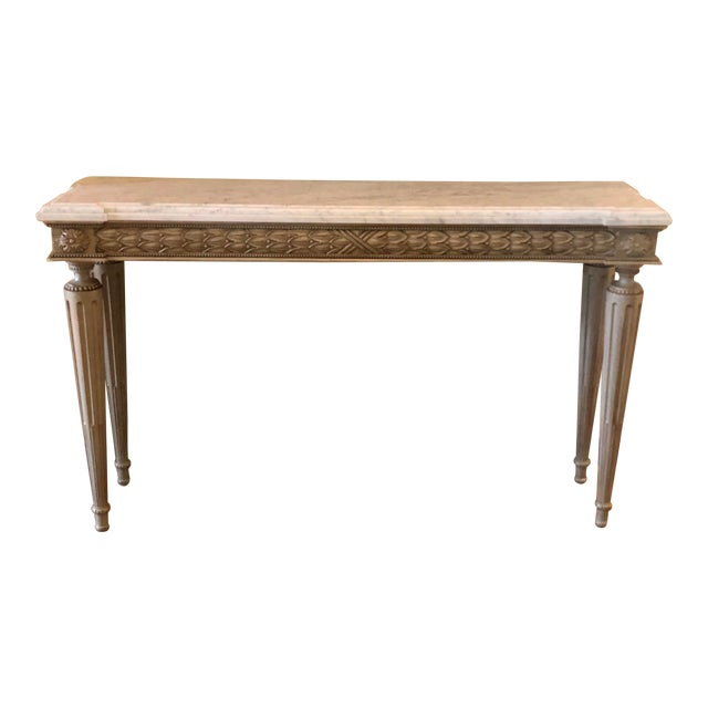 Neoclassical Paint Decorated Marble Top Console Table For Sale
