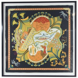 Newly Framed Hermes 'Les Printemps De Thera' Scarf