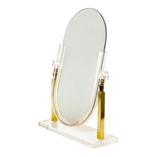 Vintage Charles Hollis Jones Style Brass and Lucite Tabletop Mirror For Sale