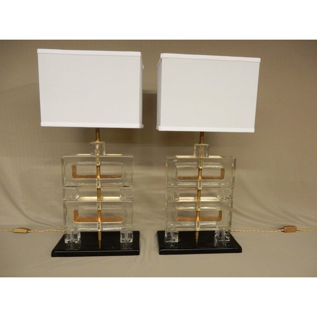 Pair of Italian Murano Glass Table Lamps For Sale - Image 9 of 10