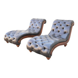 Italian Leather Tufted Chaises - a Pair