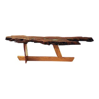Organic Modern Live Edge Mesquite Slab Coffee Table For Sale