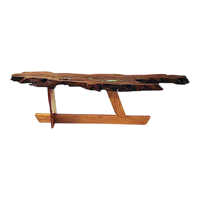 Organic Modern Live Edge Mesquite Slab Coffee Table For Sale