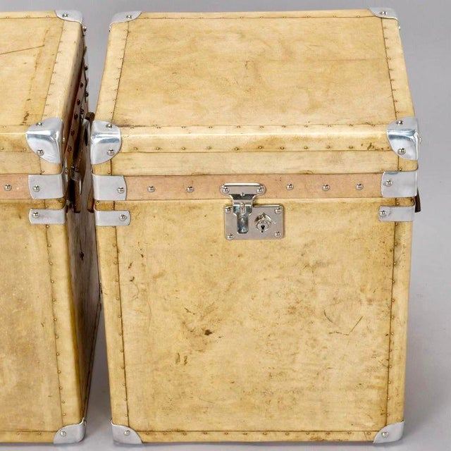 Pair of Reconditioned English Vellum and Chrome Trunks - Image 3 of 9