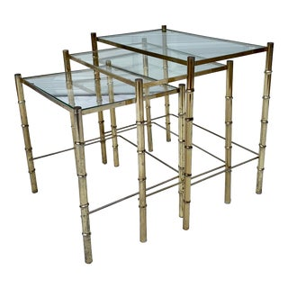 Vintage Hollywood Regency Glass Brass Faux Bamboo Nesting Tables - Set of 3 For Sale