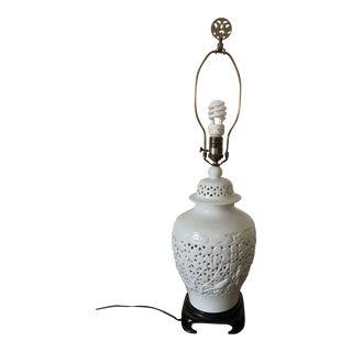 1970s Blanc De Chine Porcelain Ginger Jar Shape Lamp For Sale