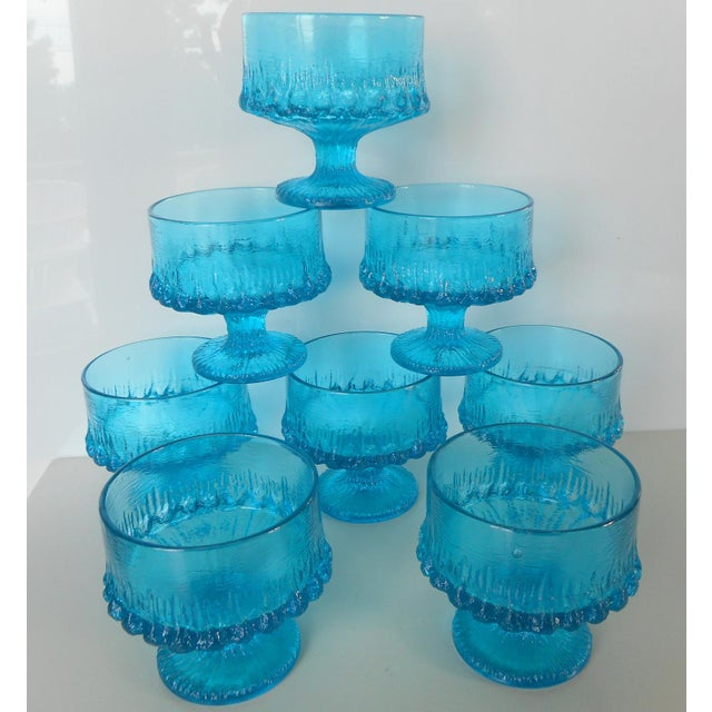 Vintage Turquoise Blue Textured Glass Sherbets - Set of 8 - Image 6 of 7