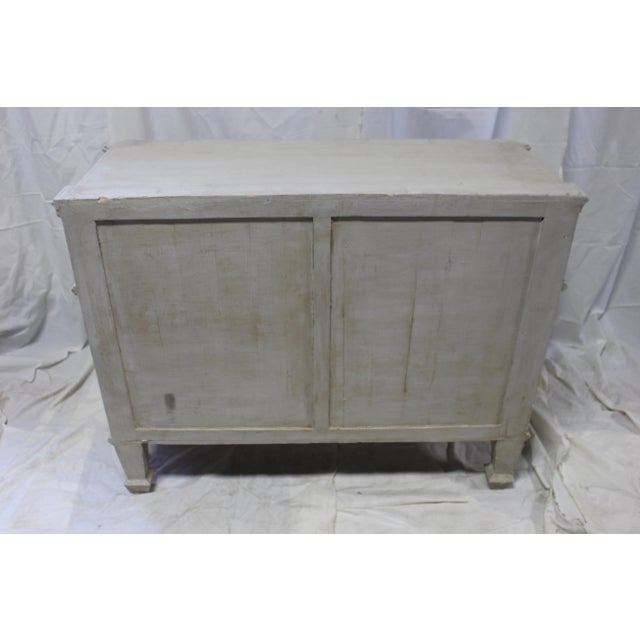 Early 20th Century Swedish Dresser imported from France. Hand carved out of solid Oak wood. Refinished in a gray wash with...