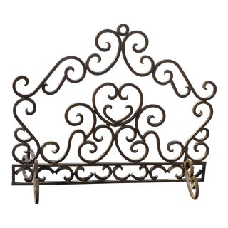 Vintage Spanish Style Solid Wrought Iron Brown Fireplace Screen For Sale