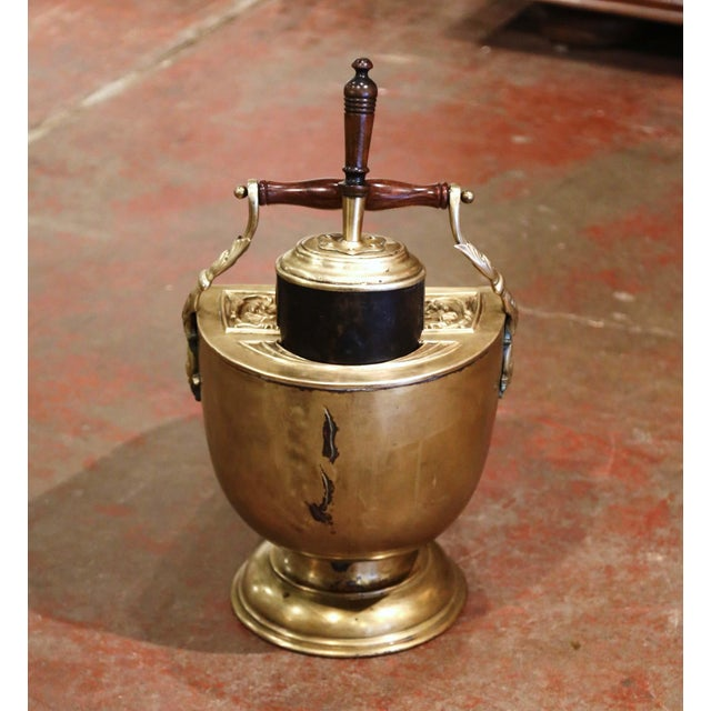 Brass 19th Century English Victorian Repousse Brass Coal Bucket With Original Scoop For Sale - Image 8 of 13