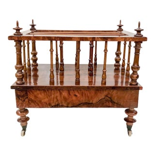 Antique English Burled Walnut Canterbury, Circa 1865-1875.